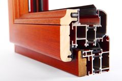 Échantillon moderne de fenêtre en aluminium Photographie stock libre de droits