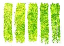 Échantillons brillants verts de poli de scintillement d'isolement dessus Images libres de droits