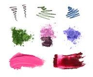 Échantillons cosmétiques d'isolement sur le blanc Photos libres de droits
