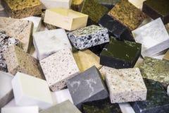 Échantillons de couleur de plan de travail de granit Photos stock