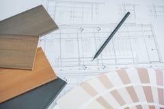 Échantillons de couleur et de matériel sur les dessins architecturaux du mode image libre de droits