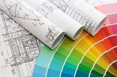 Échantillons de couleur pour la sélection avec le plan de maison Images stock