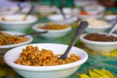Échantillons de goûts et de sauces à goûter Photos stock