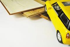 Échantillons de plancher en bois de texture de carrelage de stratifié et de vinyle sur W Image stock