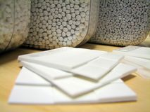 Échantillons en plastique blancs Images libres de droits