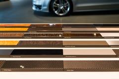 Échantillons intérieurs des véhicules à moteur de matériaux photo stock