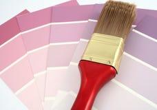 Échantillons pourprés de peinture images stock