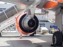 Échappement d'un moteur à réaction d'Airbus a320 Photos libres de droits