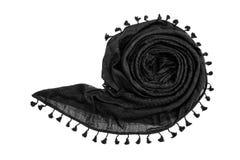Écharpe arabe noire sur le fond blanc Image stock