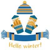 écharpe d'hiver et mitaine et chapeau tricotés Photos libres de droits