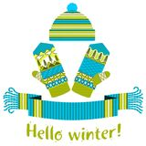 écharpe d'hiver et mitaine et chapeau tricotés Images libres de droits