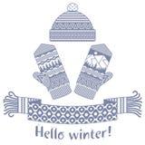 écharpe d'hiver et mitaine et chapeau tricotés Photos stock