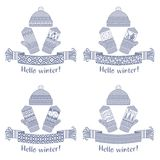 écharpe d'hiver et mitaine et chapeau tricotés Image libre de droits
