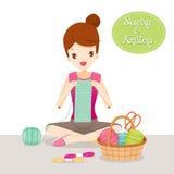 Écharpe de tricotage de femme illustration libre de droits