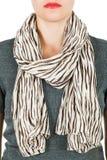 Écharpe en soie Écharpe en soie beige autour de son cou sur le fond blanc Image libre de droits