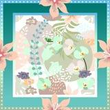 Écharpe en soie avec la composition florale encadrée Images stock