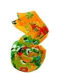 écharpe en soie colorée sur le blanc image libre de droits
