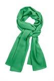 Écharpe en soie verte d'isolement sur le fond blanc image libre de droits