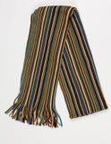 Écharpe rayée colorée sur un fond blanc photos stock