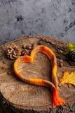 Écharpe sous forme de coeur sur le concept en bois de fond des mers Photo stock