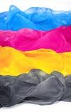 Écharpes en soie aériennes dans le cmyk de couleurs Fond pour la bannière, carte, image stock