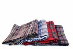 Écharpes multicolores de tartan Photographie stock