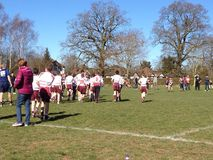 Échauffement de juniors de rugby Photos stock