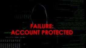 Échec, compte protégé, tentative entaillante infructueuse de voler des données personnelles photos stock