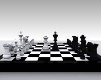échecs 3D - roi et reine Images libres de droits