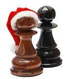 Échecs avec le chapeau de Santa Image libre de droits