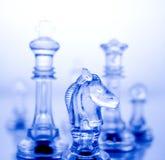 Échecs bleus transparents Images libres de droits