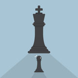 Échecs de gage effrayés des échecs de roi Photos stock