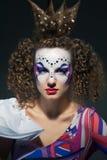 Échecs de la Reine avec le maquillage d'art Photos libres de droits