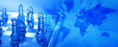 Échecs globaux de stratégie commerciale Photographie stock libre de droits