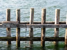 Échelle de corde faite main pendant vers le bas des poteaux en bois Image stock