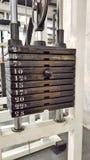 Échelle de pile de poids - équipement de gymnase Photographie stock libre de droits