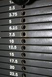 Échelle de pile de poids Photographie stock
