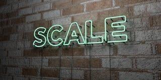 ÉCHELLE - Enseigne au néon rougeoyant sur le mur de maçonnerie - 3D a rendu l'illustration courante gratuite de redevance Images libres de droits