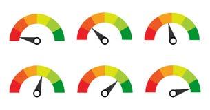 échelle jauge mètre Indicateurs avec différents indicateurs illustration libre de droits