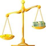 Échelle mal équilibrée d'or avec des coines et des billets de banque illustration de vecteur