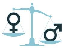 Échelle non équilibrée avec les icônes masculines et femelles Photographie stock