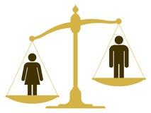 Échelle non équilibrée avec un homme et une femme illustration libre de droits
