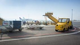 Échelle plate jaune dans l'aéroport de Pulkovo Photo stock
