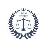 Échelles centrales juridiques de justice de vecteur, icône de laurier illustration libre de droits