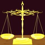 Échelles d'or de vecteur sur la table en bois Images libres de droits