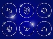 Échelles d'ensemble d'icône de justice Photos libres de droits