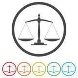 Échelles de graphisme de justice Symbole de cour de justice illustration stock