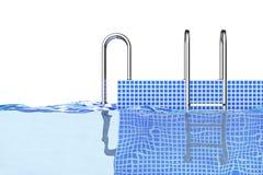 Échelles de piscine de Chrome dans l'eau rendu 3d Photos libres de droits