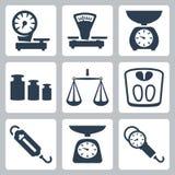 Échelles de vecteur, icônes d'équilibre réglées illustration stock