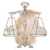 Échelles fleuries d'équilibre d'antiquité d'illustration de vecteur avec un coeur et un cerveau sur des tasses illustration libre de droits